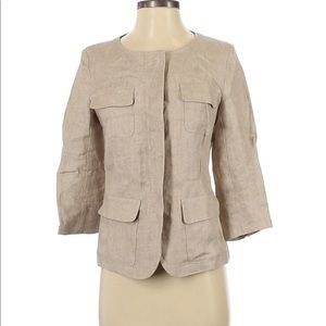 Weekend MaxMara Linen Jacket sz 4 Beige 3/4 Sleeve